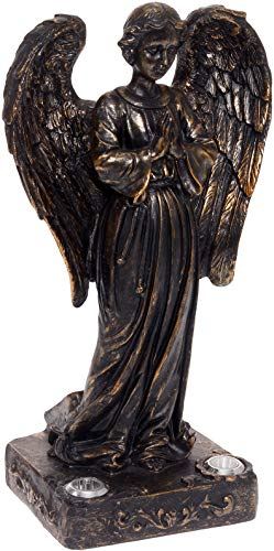 (Solar Powered 2 LED Praying Angel Statue Garden Light (Bronze))