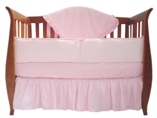 TL Care Heavenly Soft Minky Dot 4 Piece Crib Set, Pink, for Girls