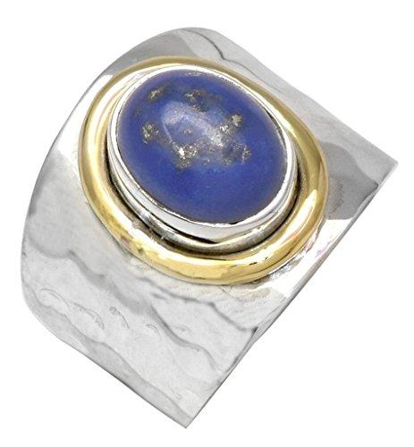 YoTreasure Lapis 925 Sterling Silver Brass Rings Silver Jewelry
