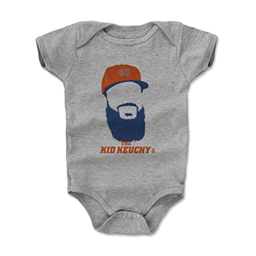 500 LEVEL's Dallas Keuchel Infant & Baby Onesie Romper 3-6M Heather Gray - Dallas Keuchel Silhouette B - Houston Baseball Fan Gear Officially Licensed by the MLB Players Association