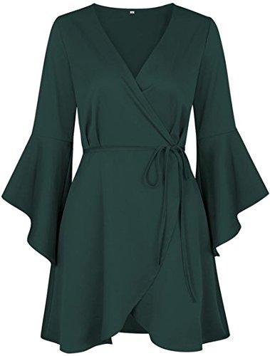 Swing Big Tang Manches Évasé Profonde Col V Féminin Vert Robe De Soirée Plissée