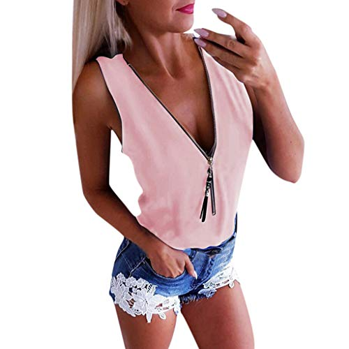 Tantisy ♣↭♣ Women Plus Size Tops Sleeveless V-Neck Zipper Tee T-Shirt Fashion Sexy Cross-Back Blouses Ladies Tops Pink