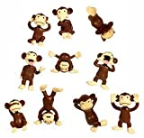 Monkey Figures - 10 Tiny Plastic Monkey Figures - Party Favors