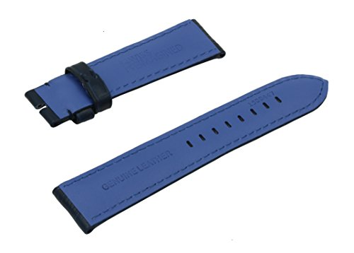 22mm Blue Crocodile Grain Padded Italian Calfskin Leather Watch Band (NO BUCKLE)