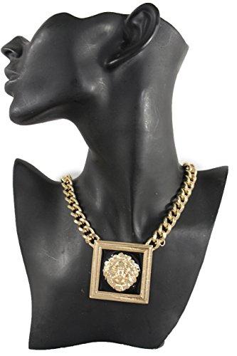 TFJ Women Fashion Necklace Gold Metal Chains Short Square Animal Lion Charm Pendant Hip Hop (Kim Kardashian Halloween Costume Wonder Woman)