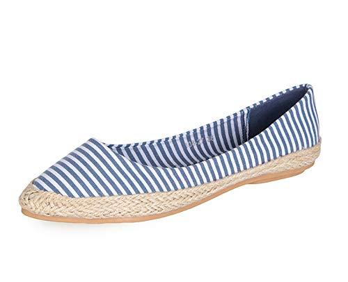 FLYRCX Los Zapatos de Rayas de Tela de Primavera y Verano Zapatos de Punta de la Boca Plana Zapatos Planos de Las señoras, 40 UE 36 EU