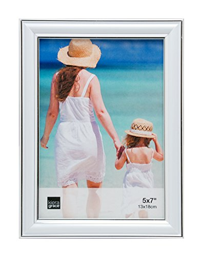Kiera Grace Avery Picture Frame, 5 by 7 Inch, White with Silver Lining