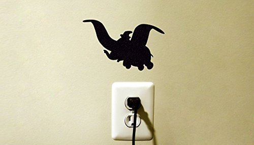 Dumbo Disney Inspired Vinyl Decal Sticker Flying Elephant Kids Light Switch Room Decor Nursery