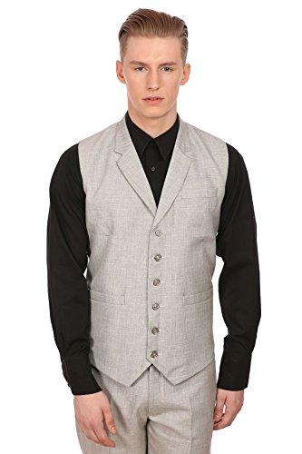 Wintage Men's Linen Blend Notch Lapel Grey Vest,46/2XL Notch Lapel Vest