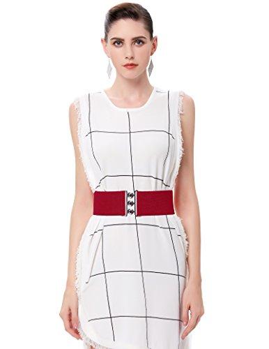 Elastic Waist Belt Red Vintage Dress Belt 2XL CL8962-7 (Wide Red Belt Plus Size)