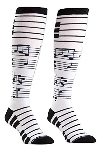 Sock It to Me, Foot Notes, Womens Knee-High Funky Socks, Piano Key Notes, Music Socks