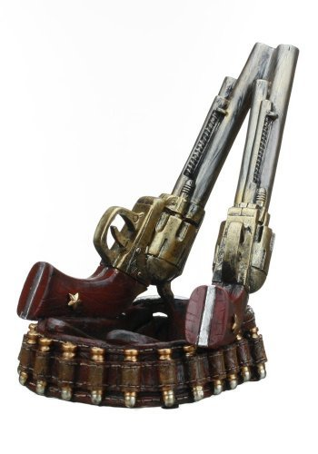 Prairie Schooner Guns with Holster Wine Bottle Holder - Resin- 8
