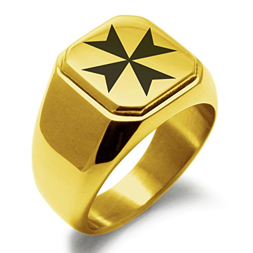 Gold Plated Stainless Steel Maltese Cross Symbol Engraved Square Flat Top Biker Style Polished Ring, Size 15.5 Maltese Cross Mens Ring