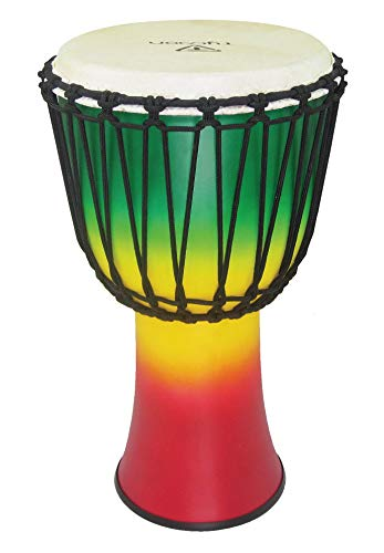 Tycoon Percussion 10 FIBERGLASS ROPE TUNED DJEMBE JAMAICAN COLOR FINSIH RED/YELLOW/GREEN, TFAJ-10JC)