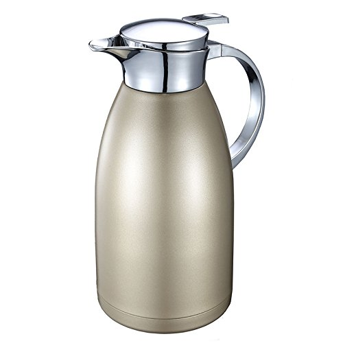 68 Oz Coffee Thermal Carafe with Lid - 18/10 Stainless Steel Coffee Thermos Carafe by HUSKEY - Double Walled Vacuum Carafe Insulated