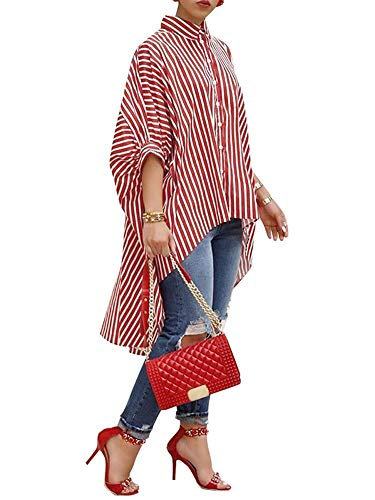 Womens Oversized Stripe Button Down Shirts Ruffled High Low Hem Blouse Loose Batwing Half Sleeves ()