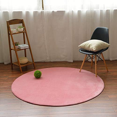 GIY Solid Round Area Rugs Living Room Carpet Children Bedroom Rug Bathroom Mats Home Decorate Fashion Non-Slip Modern Circular Runners Pink 2' X 2' by GIY