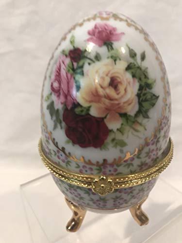 Rose Decorated Hinged Porcelain Egg Trinket Box
