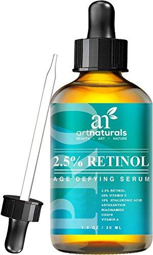 Optimiertes Retinol Serum 2,5% mit 20% Vitamin C & Hyaluron Säure 29 ml, Bestes Anti-Falten & Anti-Aging Serum fürs Gesicht selbst für Sensible Haut | Klinische Stärke | Ideal gegen Augenringe