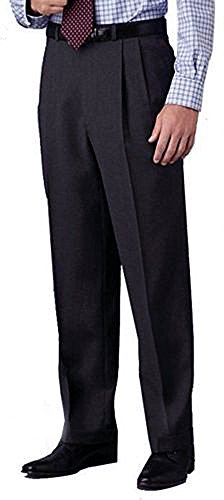 Kirkland Signature Men's Wool Gabardine Pleated Dress Slack Pant (34W x 30L, Charcoal Small Plaid)