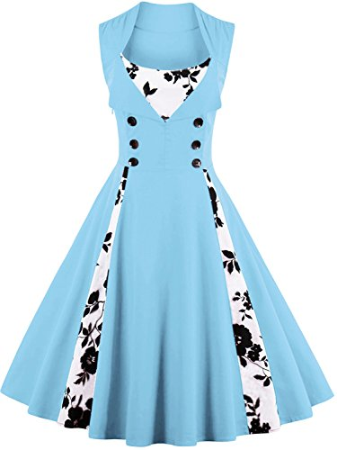 Dresses Retro Gown Vintage Cocktail Blue Rockabilly 1950s Babyonline Evening Fs1096 Women XqTtwyR