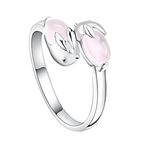 Topdo Opening Ring Sweet and Lovely Bunny Ring Girl Pink Crystal Silver Ring Hibiscus Stone Index Finger Ring Powder Crystal (Hibiscus Silver Ring)