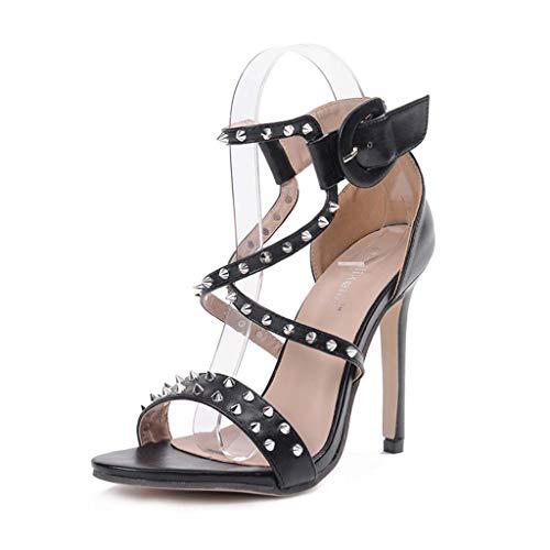 Stiletto Nuevo Sandalias Artificial Tacones Pu Huecas Con Hrn Para Europa Cruz Toe Peep Y Mujer Remache El Altos dwXqnT0xS