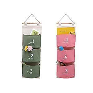 """leoyoubei Wall-mounted / door storage basket Hanging bag,22.35x8""""- 3 grid pocket waterproof cotton linen flower pot sack, children's shoes,remote control, Snacks etc , Army green and pink Pack 2"""