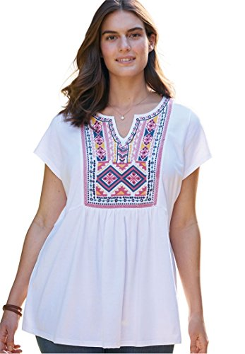 Women's Plus Size Cap Sleeve Embroidered-Bib Tee White Multi - Embroidered T-shirt Cap