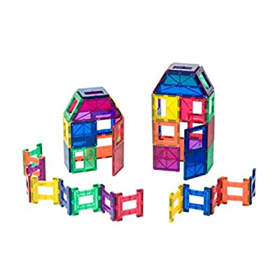 Playmags 48 Piece Set - With Stronger Magnets, STEM Toys for Kids, Magnetic Tiles and Building Blocks, Sturdy, Super Durable with Vivid Clear Color Tiles.: Toys & Games