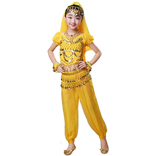 Maylong Girls Short Sleeve Top Harem Pants Belly Dance Outfit Halloween Costume DW64 (Medium, Yellow)]()
