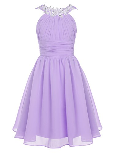 FAIRY COUPLE Big Girl's Round Neckline Ruched Bust Flower Girl Party Dress K0229 Lilac Size 14 (Big Women Prom Dresses)