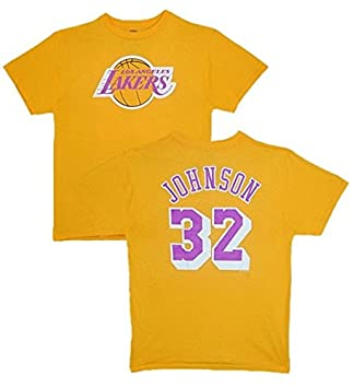 NBA para hombre los angeles lakers Magic Johnson reproductor nombre y # Oro Amarillo manga corta para Basic camiseta por Majestic, Large, Dorado: Amazon.es: ...