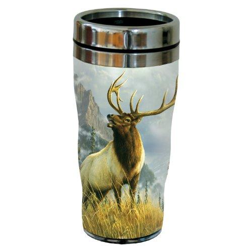 Ounce Elk Tumbler 16 - Tree-Free Greetings 77046 High Country Elk by James Hautman Vintage Art Sip 'N Go Travel tumbler, 16-Ounce, Stainless Steel, Multicolored