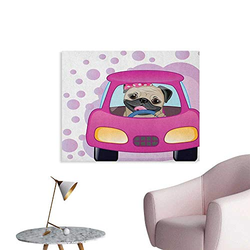 Anzhutwelve Pug Painting Post Dog Driving on The Cute Pink Car Girly Design Happy Moments and Love Animals Print Poster Print Pink Yellow W36 xL24