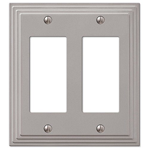 Double Satin Nickel Switch (Step Design Double GFCI Decora Rocker Wall Switch Plate Outlet Cover - Satin Nickel)