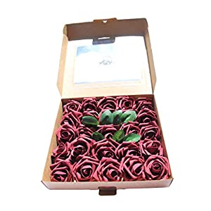 CAL Farms Artificial Roses Made of Foam for Weddings, Baby Showers, Home Decor, DYI Projects (25 Pack) 35