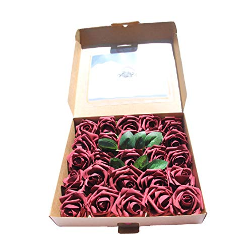 CAL Farms Artificial Roses, Artificial Flowers Fake Roses Look so Real, Made of Foam for Weddings, and Home Decor (Burgundy, 25 Count, 3