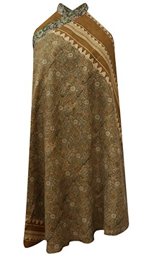 Reversible Pure Silk Floral & Paisley Print Green Dress Magic Hippie Vintage Saree Skirt Paisley Print Silk Dress