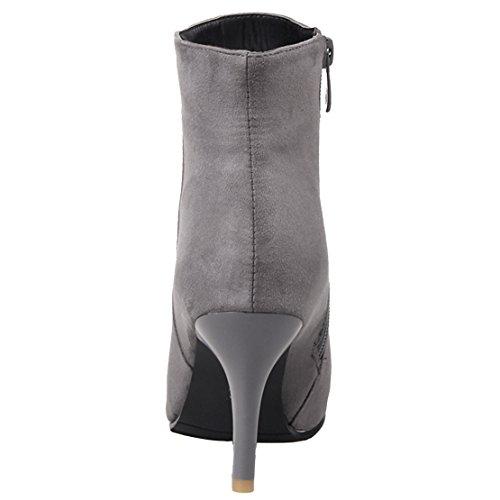AIYOUMEI Damen Winter Kurzschaft Stiefel mit Reißverschluss und 8.5cm Absatz Stiletto High Heels Elegant Stiefeletten Grau