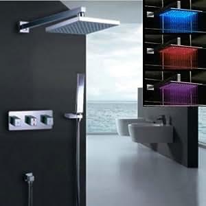 "NUEVO 12 ""brazo LED ducha lluvia cabezal rociador mano + ducha grifo Set W50021C"