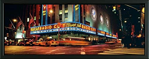 Easy Art Prints Panoramic Images's 'Manhattan, Radio City Music Hall, NYC, New York City, New York State, USA' Premium Framed Canvas Art - 24