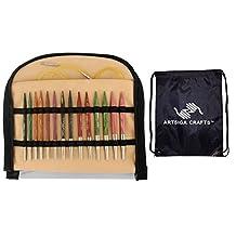 "Knitter's Pride Bundle: Dreamz Special 16"" Interchangeable Short Tip Knitting Needle Set + 1 Artsiga Crafts Project Bag 200608"