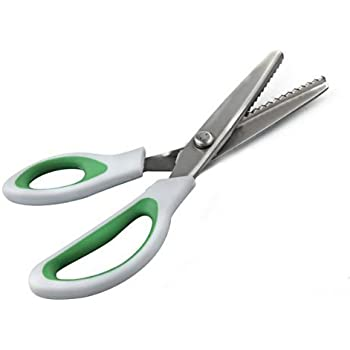 ZXUY Pinking Shears Green Comfort Grips Professional Dressmaking Pinking Shears Crafts Zig Zag Cut Scissors Sewing Scissors (1, 5 Ounce)
