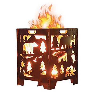 Bear Wood Burning Pit, Fire Pit, Burn Cage, Incinerator Barrel, Great for Patio and Outdoor Backyard Bonfire Heavy Duty Large 21 x 21 x 27 inch
