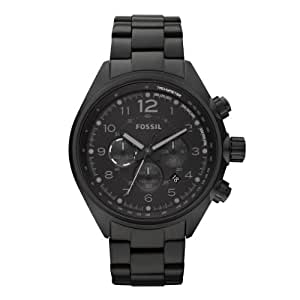 Fossil Sport CH2803 - Reloj analógico de cuarzo para hombre, correa de acero inoxidable color negro (cronómetro)