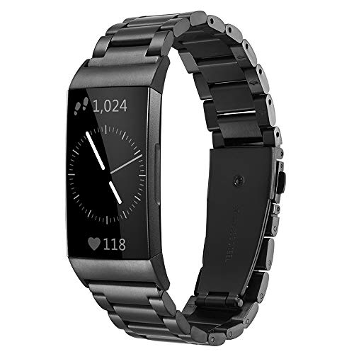 Shangpule Compatible for Fitbit Charge 3 and Charge 3 SE Bands, Stainless Steel Metal Replacement Strap Bracelet Wrist Band Accessories for Charge 3 Smart Watch Women Man Large Small (Black)