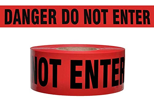 (Danger DO NOT Enter Barricade Tape Merco M234-3in x 1000ft x 2 mil - Red and Black - Full Factory case of 8 Rolls)