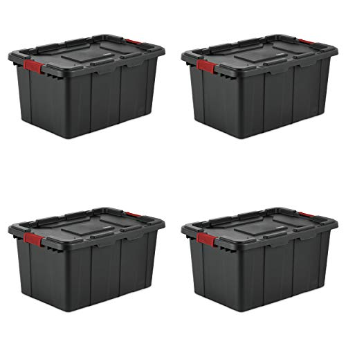- Sterilite 14669004 27 Gallon/102 Liter Industrial Tote, Black Lid & Base w/ Racer Red Latches, 4-Pack