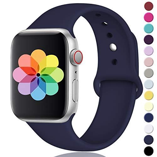 (DGege Compatible with Apple Watch Band 38mm 40mm, Small/Medium, for Women Men, Navy Blue, Silicone Sport Replacement Band Compatible with iWatch Series 3, Series 4, Series 2, Series 1 )